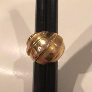 14K Yellow Gold Dome Ring, brushed/satin finish